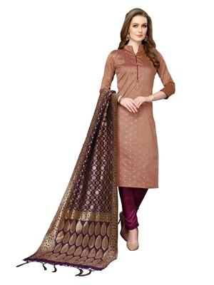 Brown jacquard silk blend salwar