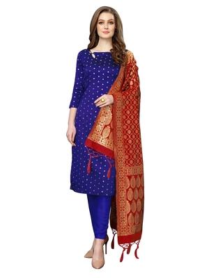 Blue jacquard silk blend salwar