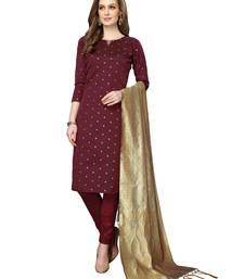 Maroon jacquard silk blend salwar