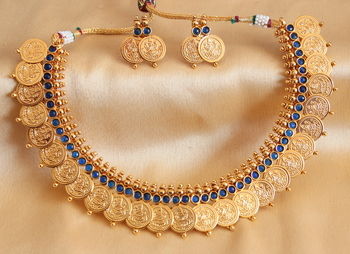 Beautiful Royal Blue Coin Necklace Set