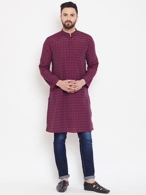 Maroon woven linen men-kurtas