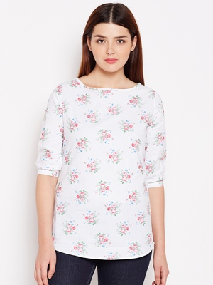 Women's White and Multicolor Floral Printed Cotton Top