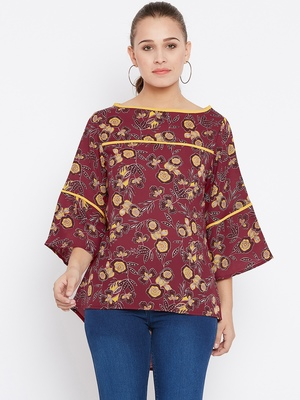 Women's Maroon and Multicolor Floral Printed Georgette Top