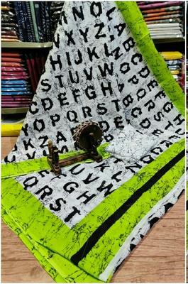 Soft Mulmul Cotton Saree - White Green Alphabet Print (Shibori Print) with Blouse Piece