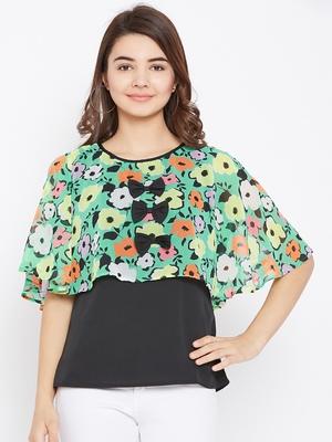 Women's Multicolor & Black Color Floral Printed Georgette Top