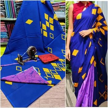 Soft Mulmul Cotton Saree - Blue Violet Yellow Shibori Print With Blouse Piece