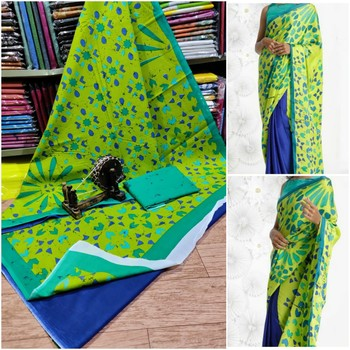Green Blue Soft Mulmul Cotton Saree (Shibori Print) with Blouse Piece