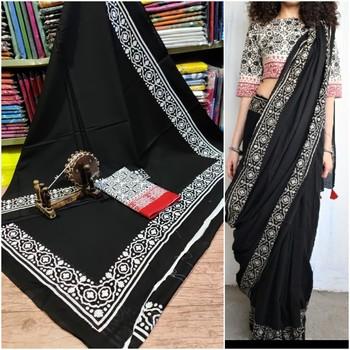 Black Soft Mulmul Cotton Saree with Blouse Piece