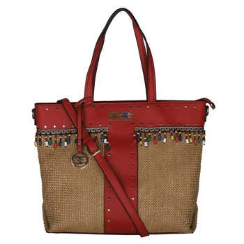 Esbeda Red Color BIG Size Jute tote-bags For Women