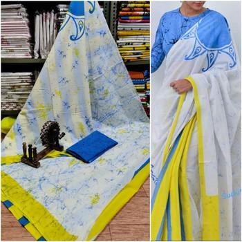 White Blue Yellow Soft Mulmul Cotton Saree (Shibori Print) with Blouse Piece