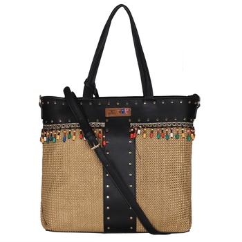 Esbeda Black Color BIG Size Jute tote-bags For Women