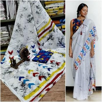 White Soft Mulmul Cotton Saree with Multi Coloured Blouse Piece
