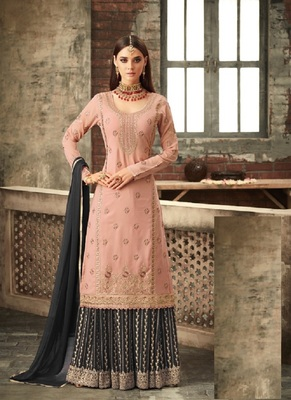 Light Pink And Gray embroidered georgette semi stitched salwar with dupatta