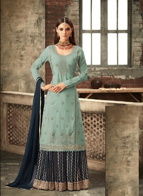Skyblue And Navy Blue embroidered georgette semi stitched salwar with dupatta
