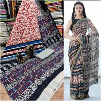 Multi coloured Soft Mulmul Cotton Saree with Blouse Piece