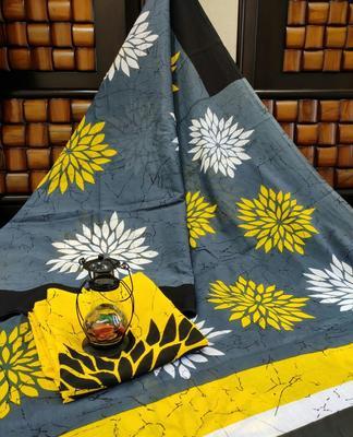 Grey Yellow Black Soft Mulmul Cotton Saree with Blouse Piece