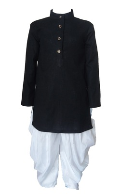 Kids Cotton Black  Kurta Pyjama For Boys