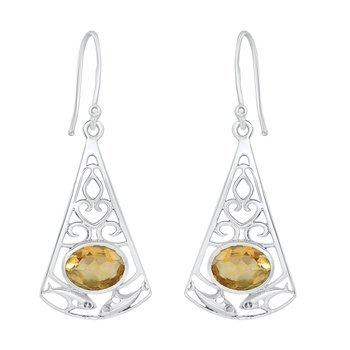 Yellow citrine 925-sterling-silver-earrings