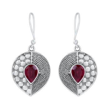Pink ruby 925-sterling-silver-earrings