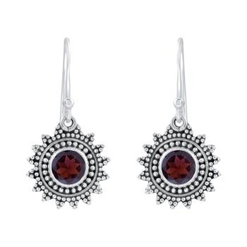 Red Garnet 925 Sterling Silver Earrings