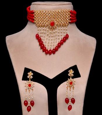 Kundan and Red Stone Embellished Designer Neckpiece 317FNN160