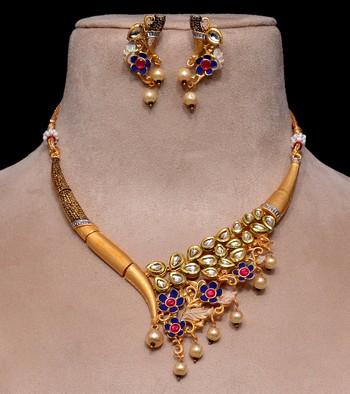 Kundan Embellished Matte Finish Designer Neckpiece 317FNN163