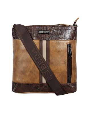 Esbeda Tan Color Mediums Size Croco Stripe Sling bag For Mens And Women.