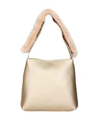 Esbeda Gold Color Magnet Closure Solid Fur Belt Handbag For Womens