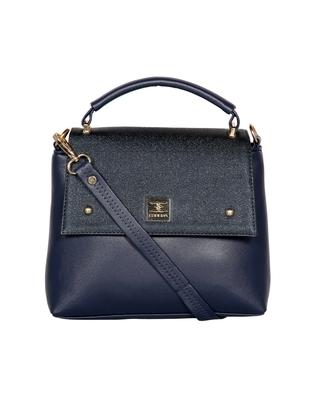 Esbeda Blue Color Solid Pattern Cinhetic Box Handbag For Women