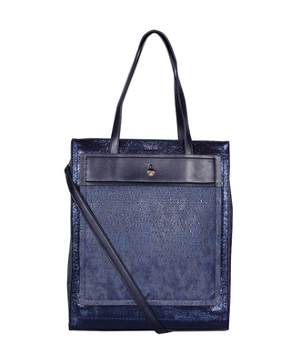 Esbeda Navy Color Printed Pattern Sparkling Sequins Handbag For Women