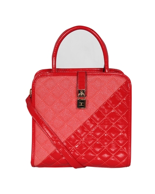 Esbeda Red Color Solid Pattern Quilted Shiny Handbag For Women