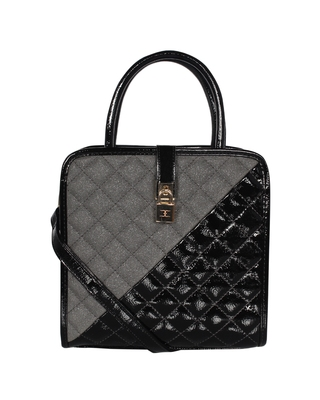 Esbeda Black Color Solid Pattern Quilted Shiny Handbag For Women