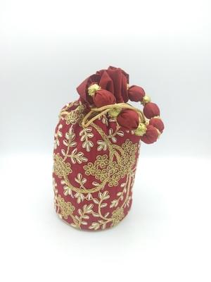 Core Classiques Maroon Embroidered Potli Bag
