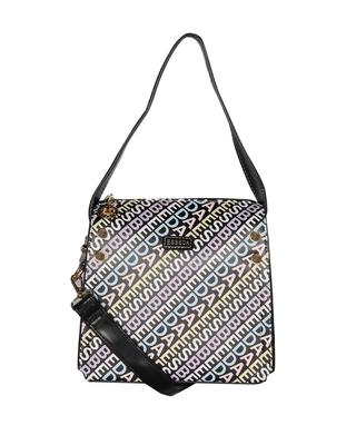Esbeda Black Color Printed Logo font handbag For Women
