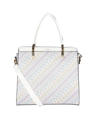 Esbeda White Color Printed Logo font handbag For Women