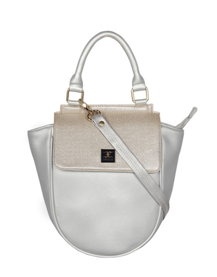 Esbeda Silver Color Cinhetic saddle Handbag For Women