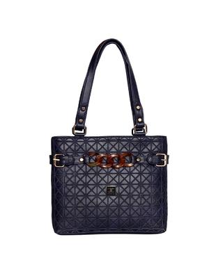 Esbeda Blue Color Emboss Dotmatrix quilted Handbag For Women