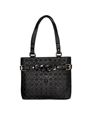Esbeda Black Color Emboss Dotmatrix quilted Handbag For Women