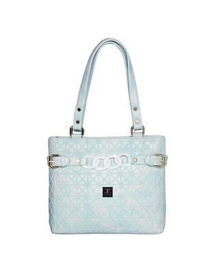 Esbeda Light Blue Color Emboss Dotmatrix quilted Handbag For Women