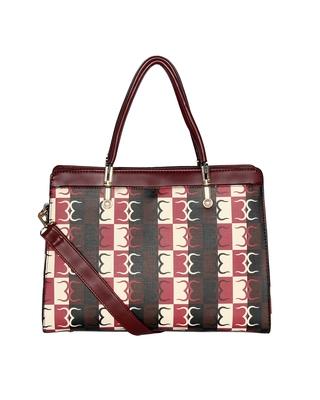 Esbeda Wine Red Color Logo Print Handbag For Women