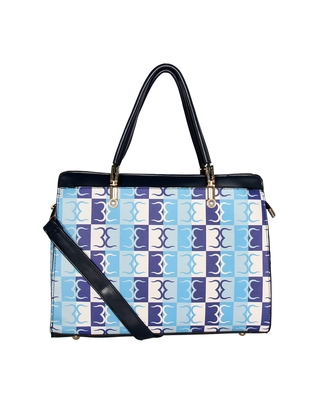 Esbeda Blue Color Logo Print Handbag For Women