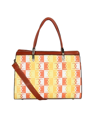Esbeda Orange Color Logo Print Handbag For Women