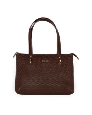 Esbeda Brown Color Embossed Textured Handbag For Women
