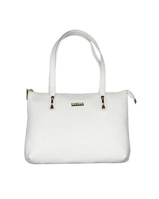 Esbeda White Color Embossed Textured Handbag For Women