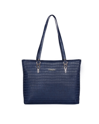 Esbeda Blue Color Embossed Textured Handbag For Women