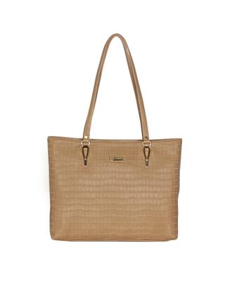 Esbeda Beige Color Embossed Textured Handbag For Women