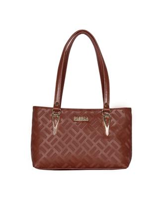 Esbeda Dark Tan Color Embossed Textured Handbag For Women