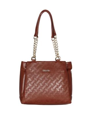Esbeda Tan Color Embossed Textured Handbag For Women