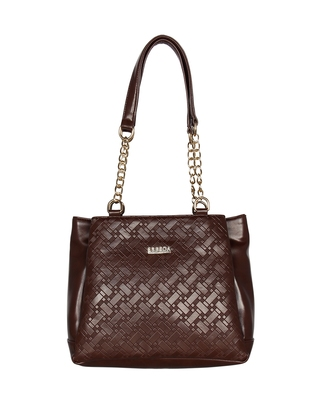 Esbeda Brown Color Embossed Textured Handbag For Women