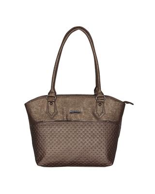 Esbeda Metal Color Glitter Emboss Hand bag For women